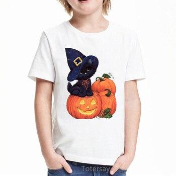 boys animal print t shirt Cat and pumpkin animal print t shirt boys halloween gift kids clothes unisex summer top t shirt boys white short sleeve t-shirt