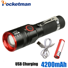 5200 Lumens Super Bright USB Rechargeable Led Flashlight XM-L T6 LEDs Brightest Flashlights Tactical Flashlight with 18650 z50