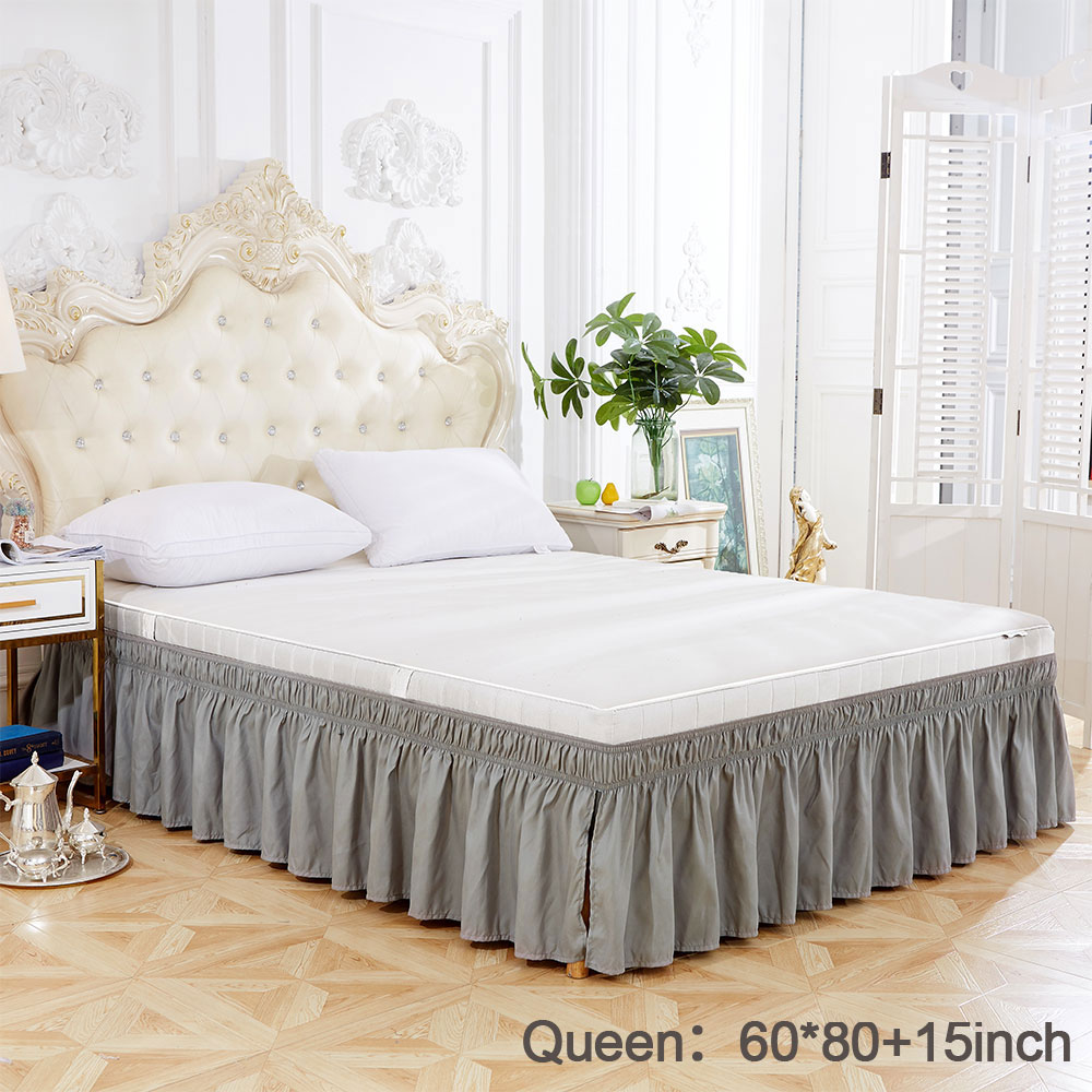 8 Colors Fashion Solid Color Elastic Bed Skirt Wrinkle Free Dust Ruffle For Twin Queen King Bed Skirt