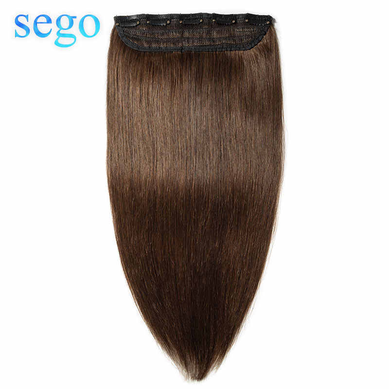 "SEGO 16""-24"" 80G-100G Clip In One Piece Non-Remy Hair Piece Straight Brazilian 100% Real Human Hair Extension Lace 1p/w 5 clips"