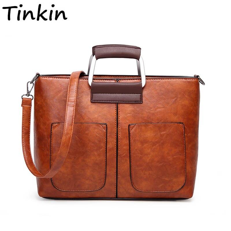 Tinkin Vintage PU Leather Women Handbags Designer  Fashion Casual Messenger Bag Large Capacity Shoulder Bag
