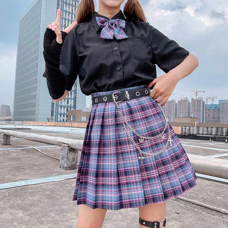 Women Kawaii Cosplay Skirt Harajuku Plaid Preppy Pleated Skirts Lolita Cute Japan Students School Uniforms Faldas Ladies Jupe