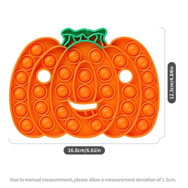 Halloween Gift Rainbow Pumpkin Food Fidget Toy Push Bubble Stress Sensory Toy 4