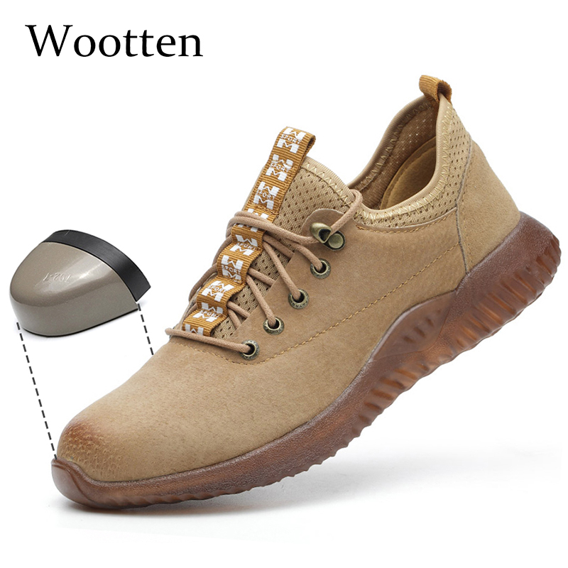Plus Size Men Safety Shoes Leather Indestructible Stab-resistant Outdoor Cap Toe Steel Construction Work Shoes #LD1112