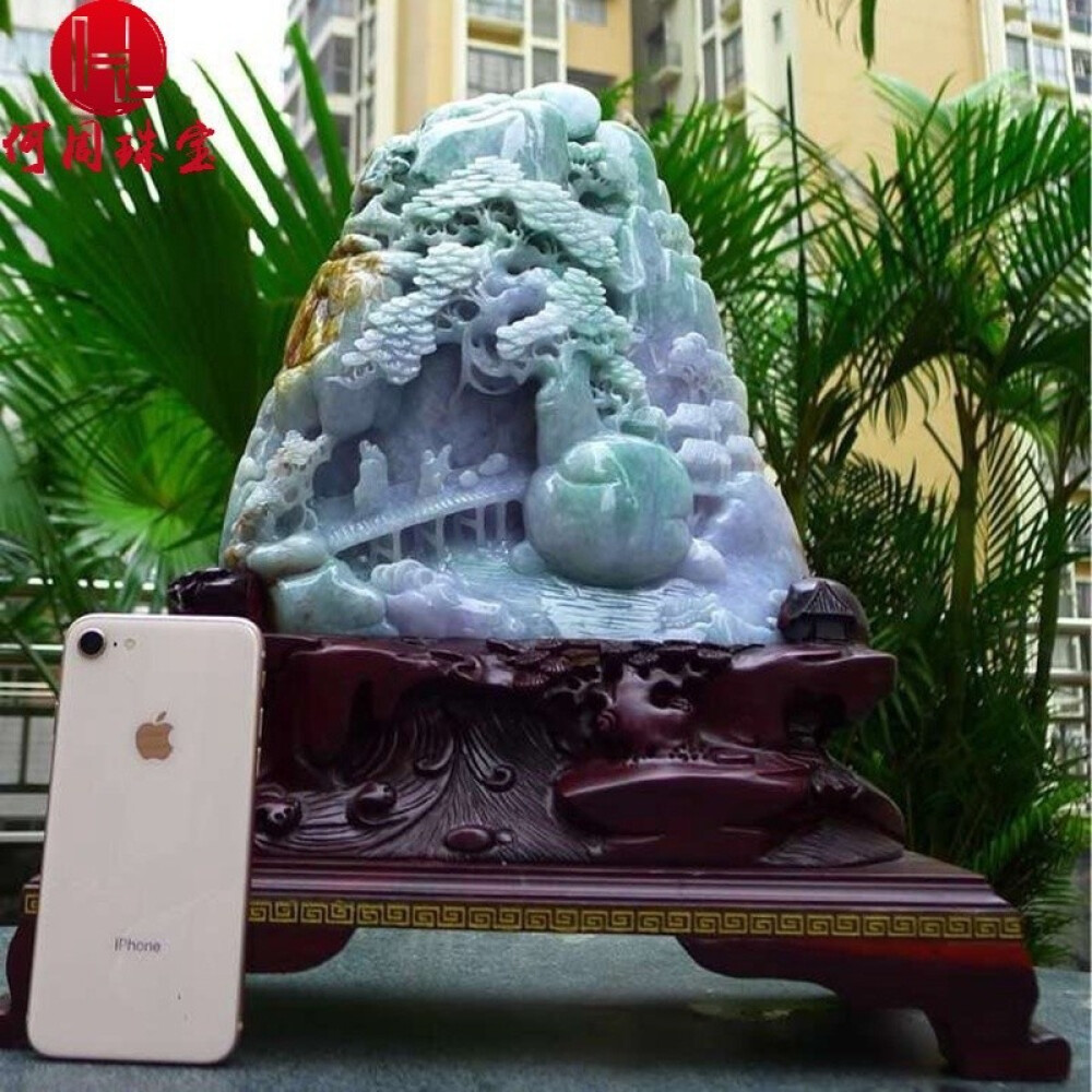 Hezhou jewelry!Myanmar natural jade!Landscape hand-carved decoration!Living room desk accessories!9.96jins 1