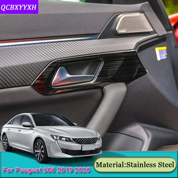 4pcs/set Car Styling Car Interior Door Handles Bowl Cover Trim Frame Stickers Sequins Car Accessories For Peugeot 508 2019 2020