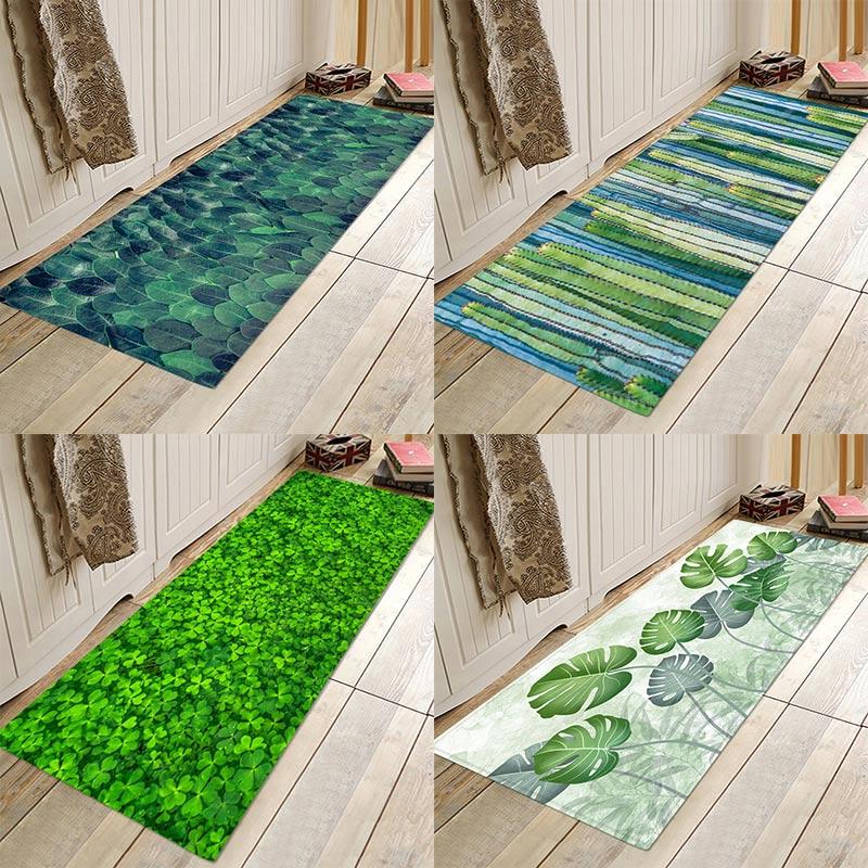 Nordic plant cactus clover print flannel floor padDoor mat, bathroom kitchen bedroom mat