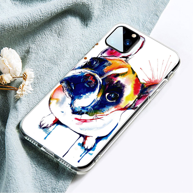 Cute Pet Dog Printed Soft Silicone Phone Case for iPhone 12 Pro Max
