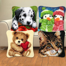 Animal Series Latch Hook Rug Kits Dogs 3D Segment Embroidery Pillow Wool Cross Stitch Carpet Embroidery DIY Latch Hook Pillow(China)