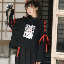 Japan Fox Womens Autumn Long Sleeve Shirt Printed Cross Ribbon Coat Black Pullover Top Hot One Size