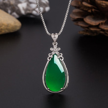 Natural Green Jade Chalcedony Water Drop Pendant 925 Silver Necklace Chinese Carved Charm Jewelry Fashion Amulet for Women Gifts natural green jade pendant dragon phoenix 925 silver necklace chinese carved fashion charm jewelry amulet for men women gifts