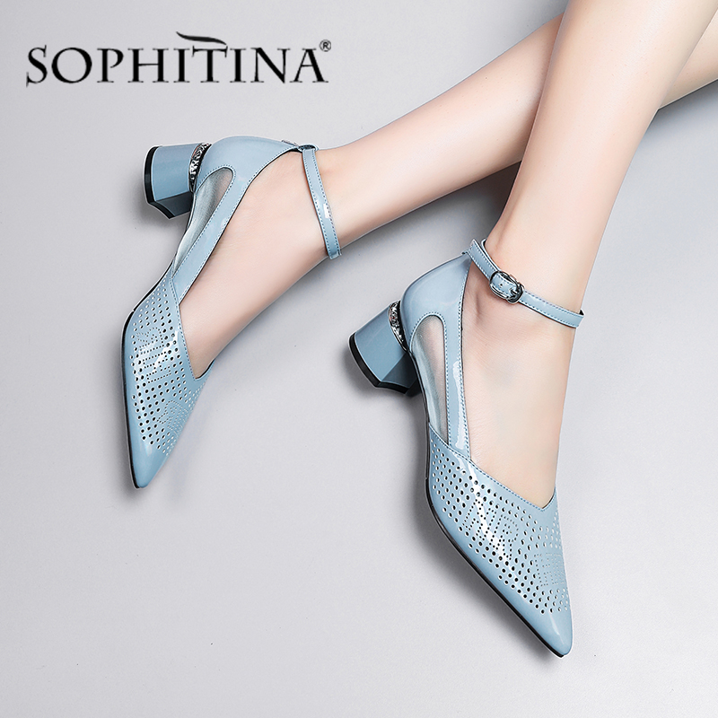 SOPHITINA New Elegant Women Pumps Fashion Ankle Buckle Strap Air Hole Design Square Heel Comfortable Shoes Handmade Pumps SO430