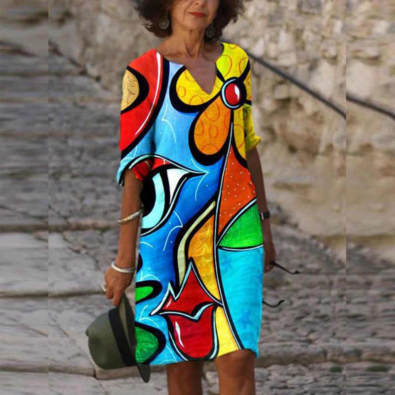 בוהמיה סגנון נשים מיני שמלה מזדמן v-צוואר חצי שרוול חופשת אסתטי שמלות אופנה Loose גיאומטרי הדפסת שמלת Vestidos