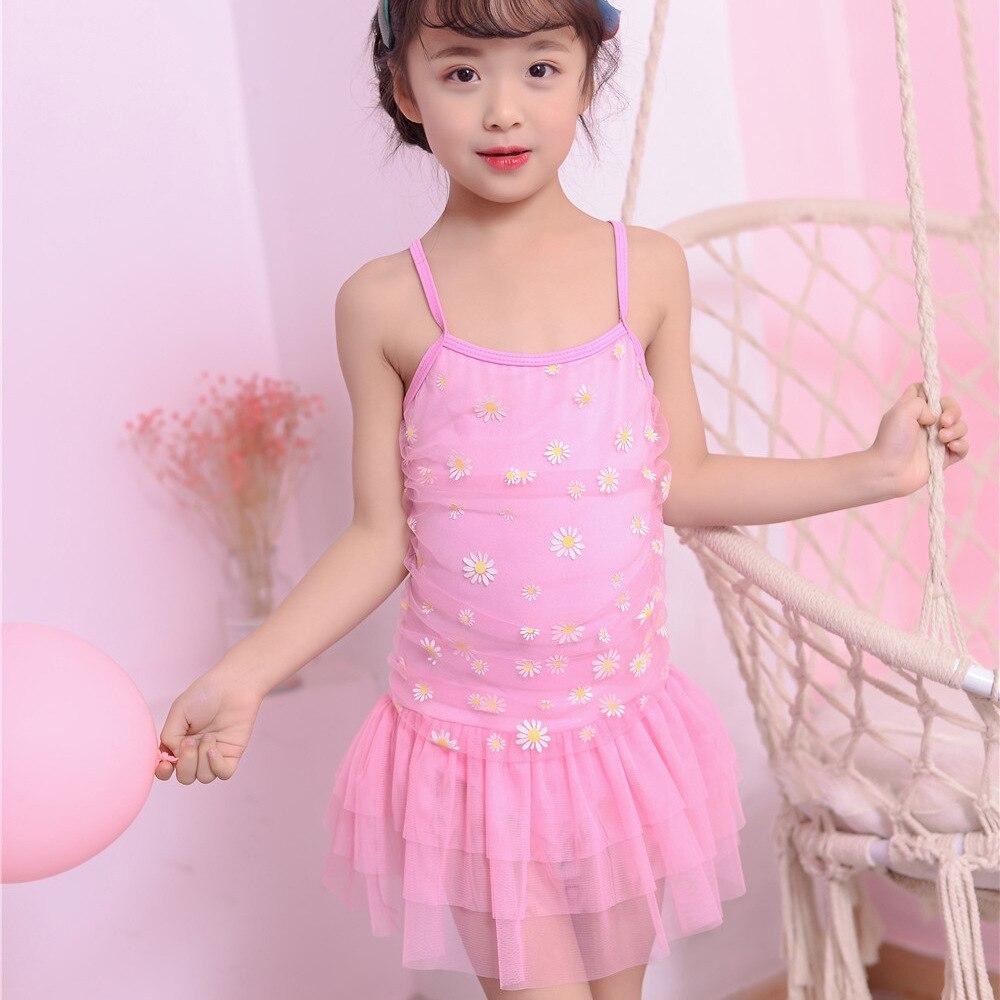 CHILDREN'S Swimwear GIRL'S One-piece Swimsuit Princess Lace Skirt Medium-small Children Skirt Holiday Beach Bathing Suit
