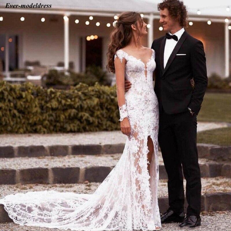 Vestido De Noiva Lace Wedding Dresses Long Sleeves Sheer O-Neck Split Illusion Bride Dress Bride Gowns 2020