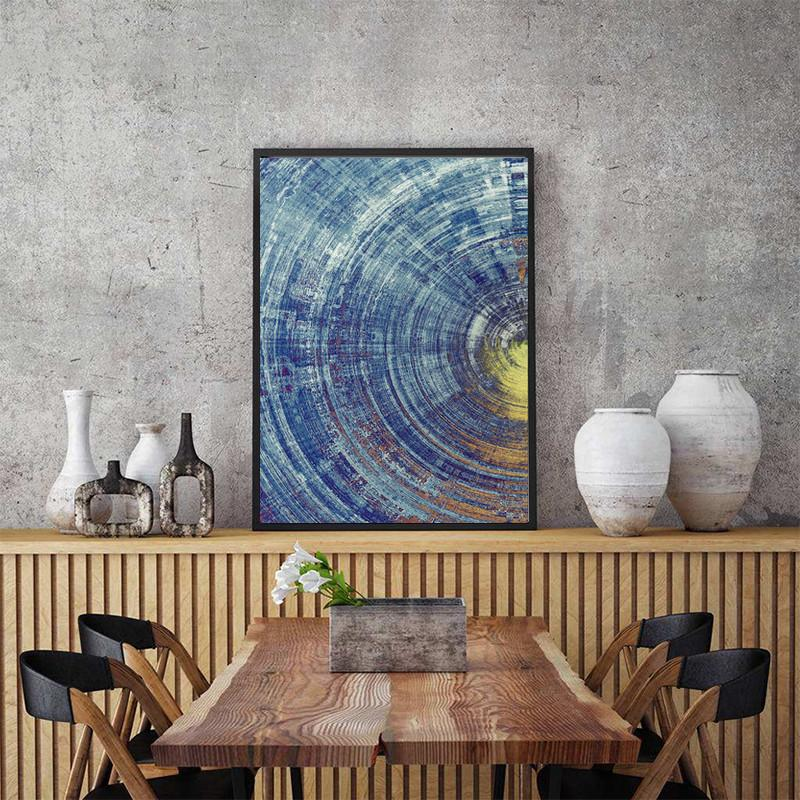 Абстрактный домашний декор синий и желтый круг Вихревой узор