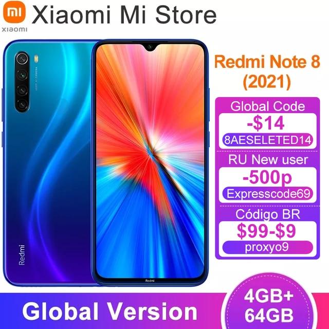 New Global Version Xiaomi Redmi Note 8 (2021) Mobile 4GB 64GB Helio G85 Octa Core 48MP Quad Camera 4000mAh Battery Smart Phone 1