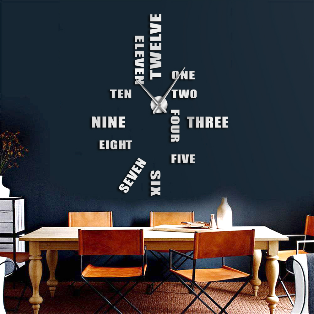 English Letter Number Large Wall Clock Modern Design Diy Wall Watch Home Decoration Accessories Frameless Giant Wall Clock Wall Clocks Aliexpress