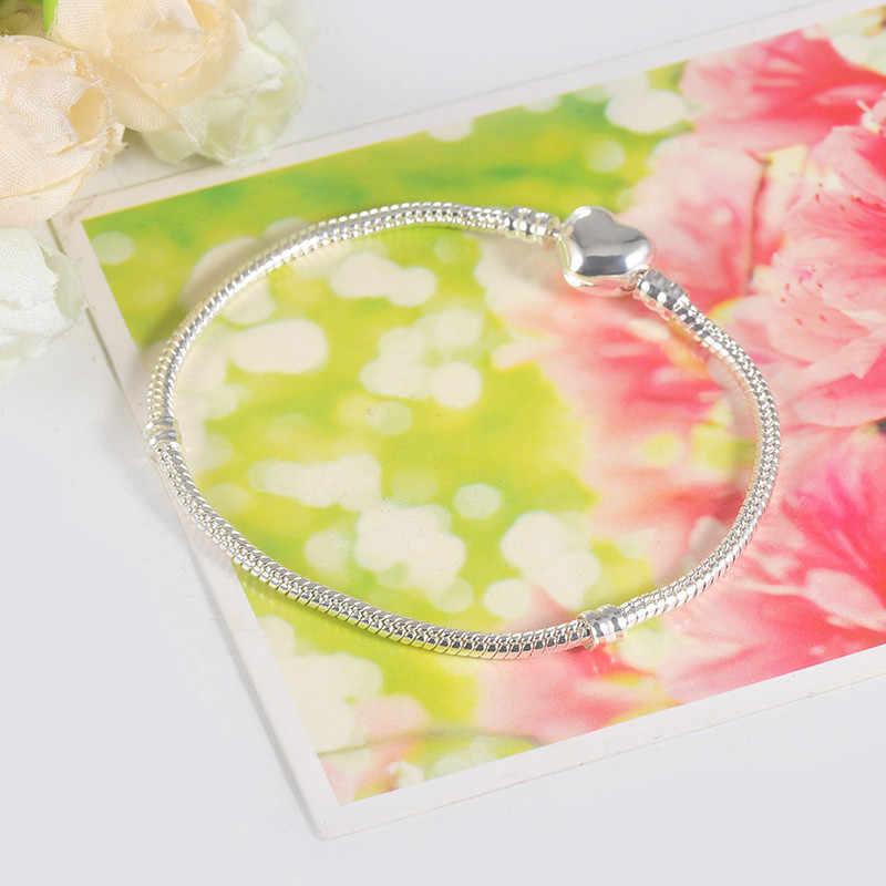 2019 fait à la main 925 en argent Sterling lisse coeur forme fermoir serpent chaîne breloque bracelets pour femme fille bricolage faisant des bijoux 16-23CM