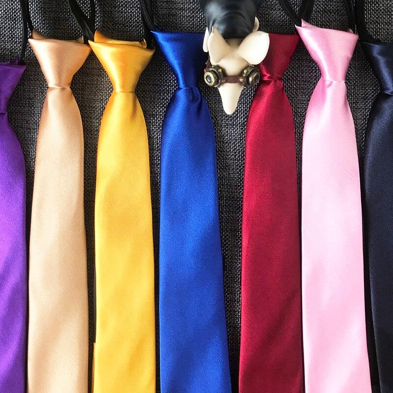 ST01 Pre-tied Neck Tie boys girls Children Zipper Ties Red Black Blue Solid Slim Narrow Bridegroom Party Dress Wedding Necktie