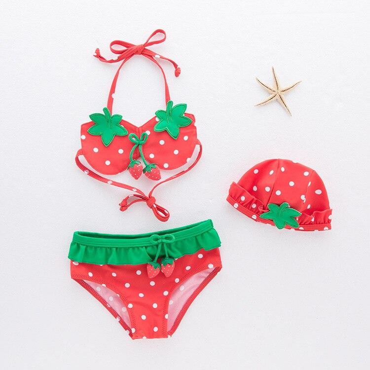 KID'S Swimwear Girls' Two-piece Swimsuit Strawberry Swimwear Large Children Bikini Split Type Tour Bathing Suit