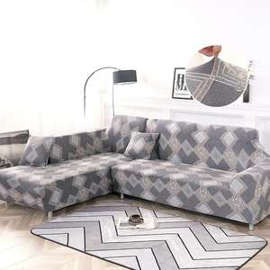 Couch-Cover Stretch L-Shaped-Corner Living-Room Chaise Elastic 2piece If Order for Longue