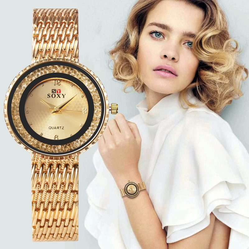 SOXY Brand Fashion Women Watch Rhinestone Quartz Women Wristwatch Stainless Steel Watches Women Relógio Montre Ladies Women