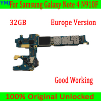 Original unlocked For Samsung Galaxy Note 4 N910F Motherboard,32GB With Android System for Note 4 N910F Mainboard,Good Tested
