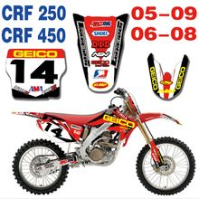 for HONDA CRF250 2005-2009 CRF450 2006-2008 New Full Graphics Decals Stickers Custom Number Name Glossy Bright Waterproof