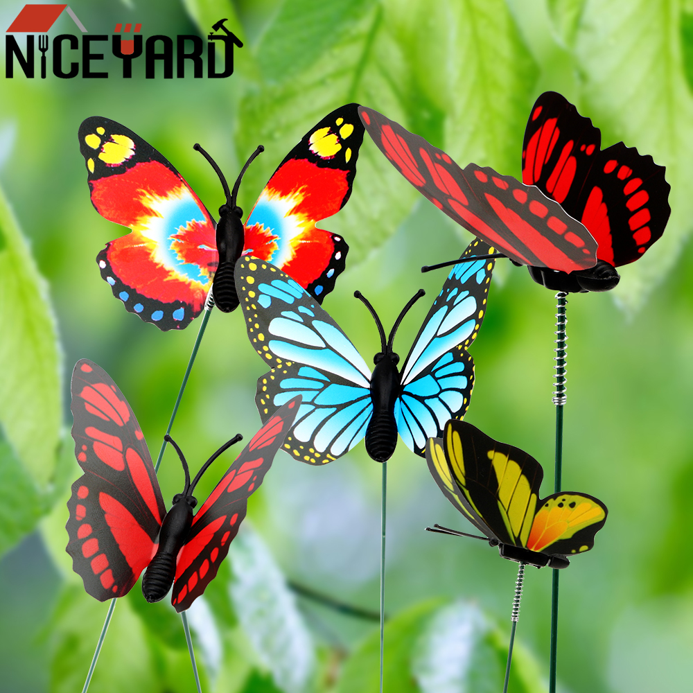 5 Pcs Bunch Colorful Butterfly Stakes Butterfly Flower Pots Decoration Home Improvement With Pile Garden Supplies Outdoor Decor Decorative Stakes Wind Spinners Aliexpress