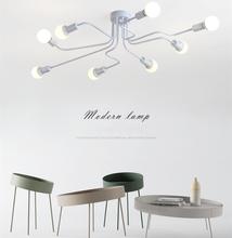현대 LED 천장 샹들리에 조명 북유럽 샹들리에 천장 E27 레트로 산업 로프트 조명기구 거실 광택