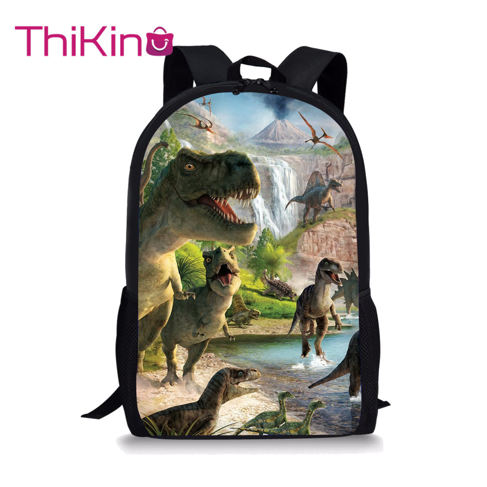 Thikin Dinosaur Students School Bag for Boys Teenagers Backpack Travel Package Shopping Shoulder Women Mochila
