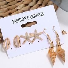 Ocean Beach Shell Dangle Starfish Small Earrings Set Women Gold Color Piercing Earrings Jewelry Vacation Accessories 2018 japanese style asymmetric starfish shell crystal stud earring women girl cute beach vacation starfish earring