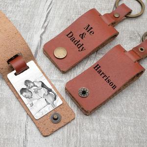 LLavero de cuero personalizado regalo del Día del Padre llavero de fotografía llavero con foto personalizada llavero de recuerdo