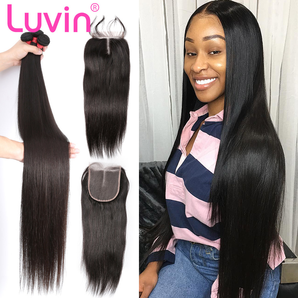 Luvin 8- 28 30 Inch Brazilian Hair Weave Bundles Remy Human Hair Straight 3 4 Bundles With Closure And 5x5 6x6 Lace Closures