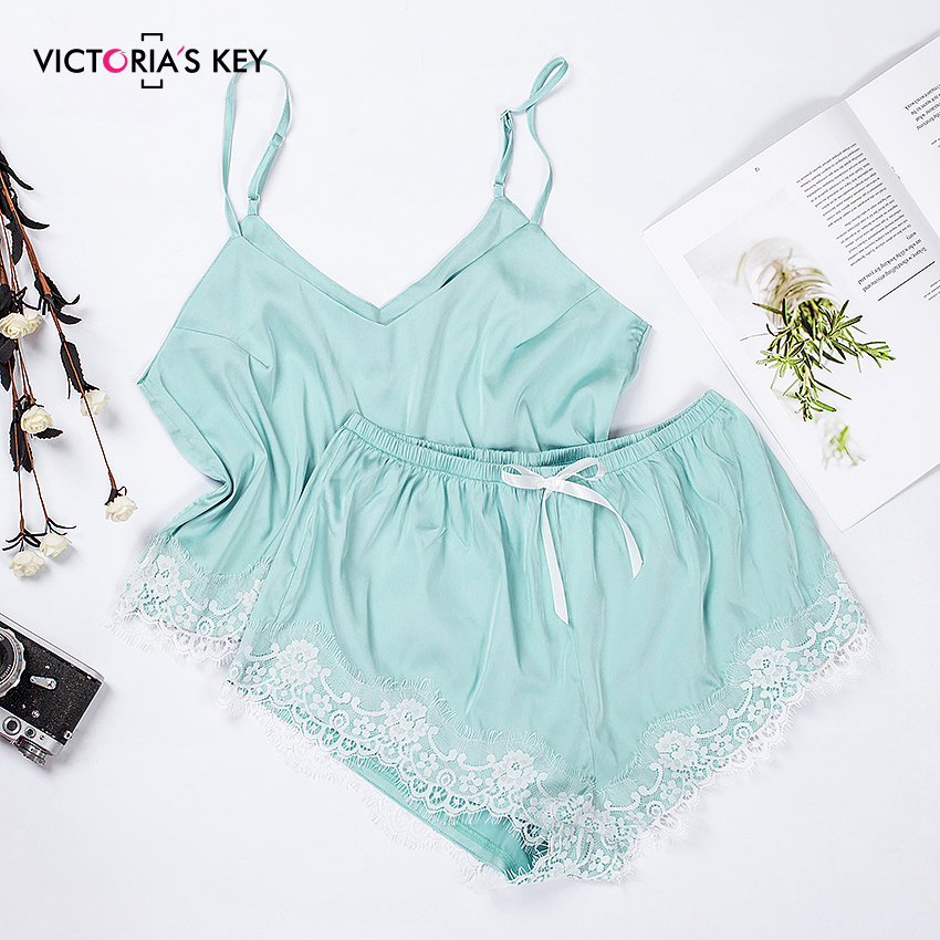 VICTORIA'S KEY V Neck Lace Satin Cami Bow Shorts Women Pijamas Sexy Sleepwear Set Ladies Tops Shorts Pajamas Sets Nightwear Slik