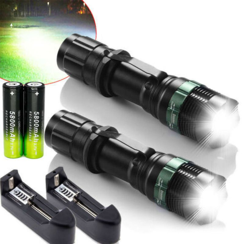Tactical Police Flashlight 90000 Lumens 3 Modes T6 LED 18650 Flashlight Rechargeable Aluminum Zoom Torch With The ChargerDosport