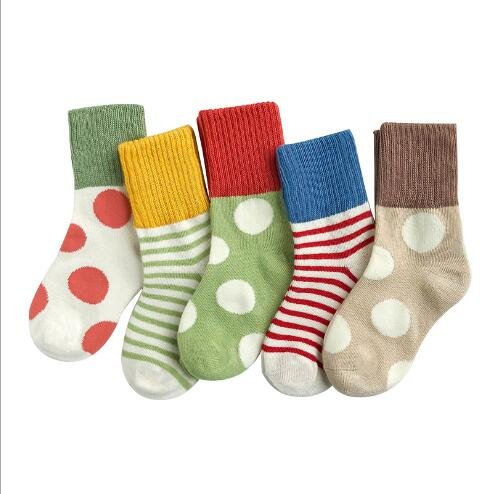 1-12 Year 5 Pairs Pack Children's Socks Winter New Horizontal Stripes Dot Striped Socks Princess Socks