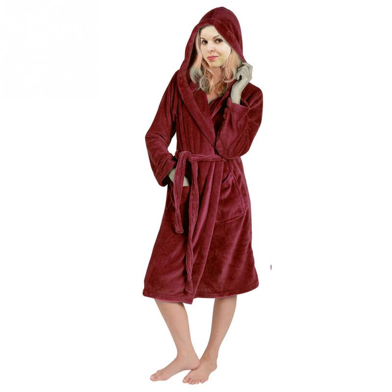 Home Loose Dressing Gown Daily Pocket Women Robe Bath Long Sleeve Solid Super Soft Winter Warm Ladies With Hood Belt