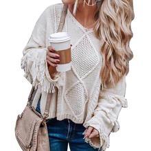 Осенне-зимний женский свитер, свободный, v-образный вырез, минималистичный, однотонный, с кисточками, с расклешенными рукавами, вязаный, повседневный джемпер