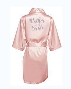Image 3 - dark pink robe silver letter kimono personalised satin pajamas wedding robe bridesmaid sister mother of the bride robes