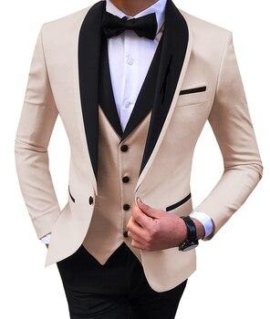 Blue Slit Mens Suits 3 Piece Black Shawl Lapel Casual Tuxedos for Wedding Groomsmen Suits Men 2020 (Blazer+Vest+Pant) 7