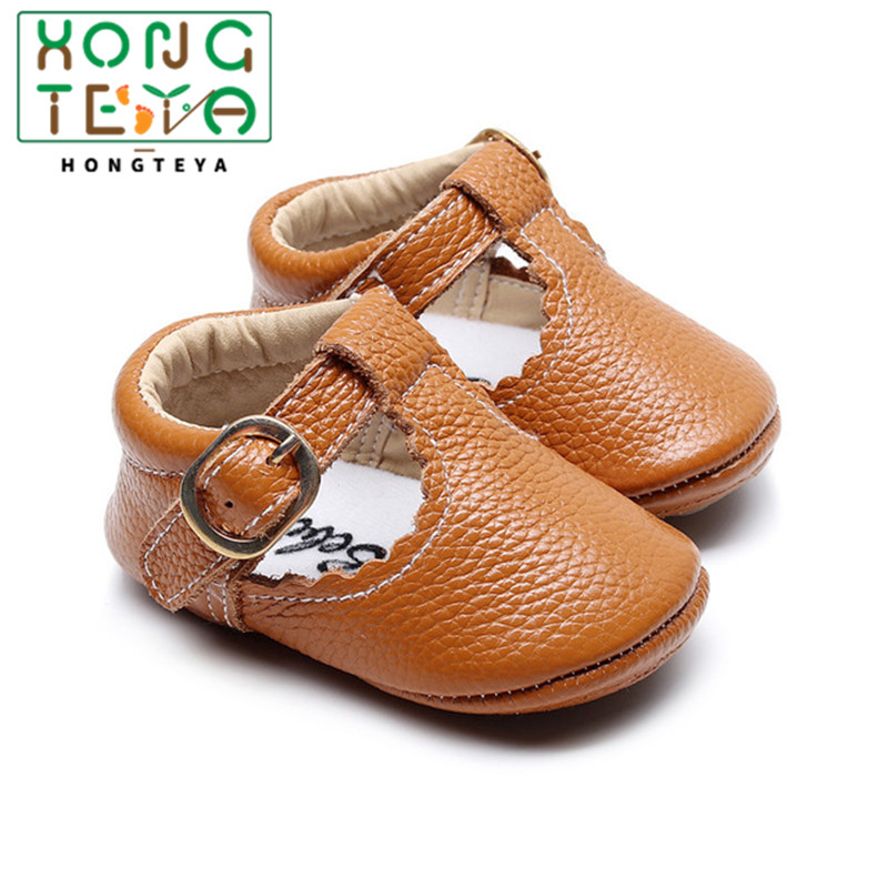 Baby Moccasins Soft Bottom Princess Crib Shoes Baby Girl Infant Shoe Genuine Leather Baby First Walkers T-bar Buckle Paste