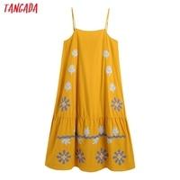 Tangada Women's Summer Embroidery Romantic Cotton Dress Strap Adjust Sleeveless 2021 Korean Fashion Lady Elegant Dresses CE313 1
