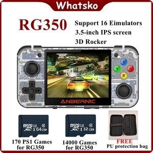 Whatsko nowy gra Retro RG350 przenośny przenośna konsola do gier MINI 64 Bit 3.5 cal ekran IPS 16G odtwarzacz gier RG 350 PS1 gry