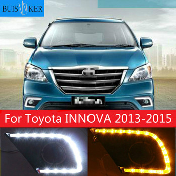 1 set For Toyota INNOVA 2013 2014 2015 with trunning Yellow Signal DRL LED Daytime Running Light Led fog lamp cover