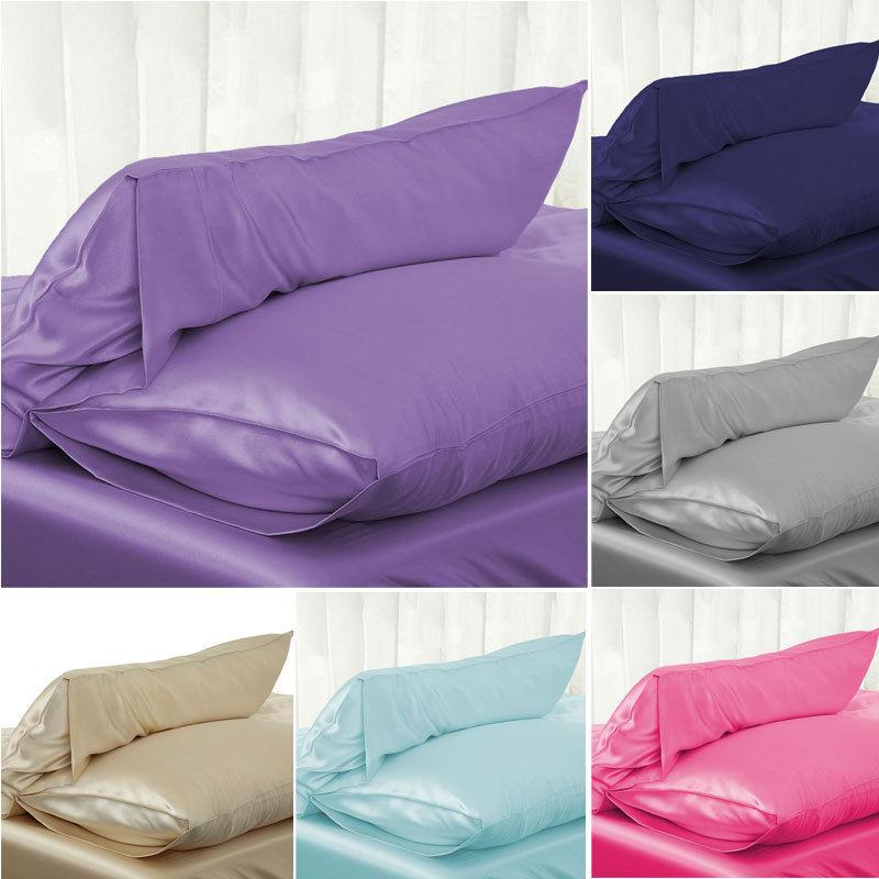 30 1PC 51*76cm Luxury Silky Satin <font><b>Pillow</b></font> <font><b>Case</b></font> <font><b>Pillow</b></font> Cover Solid Color Standard Pillowcase image