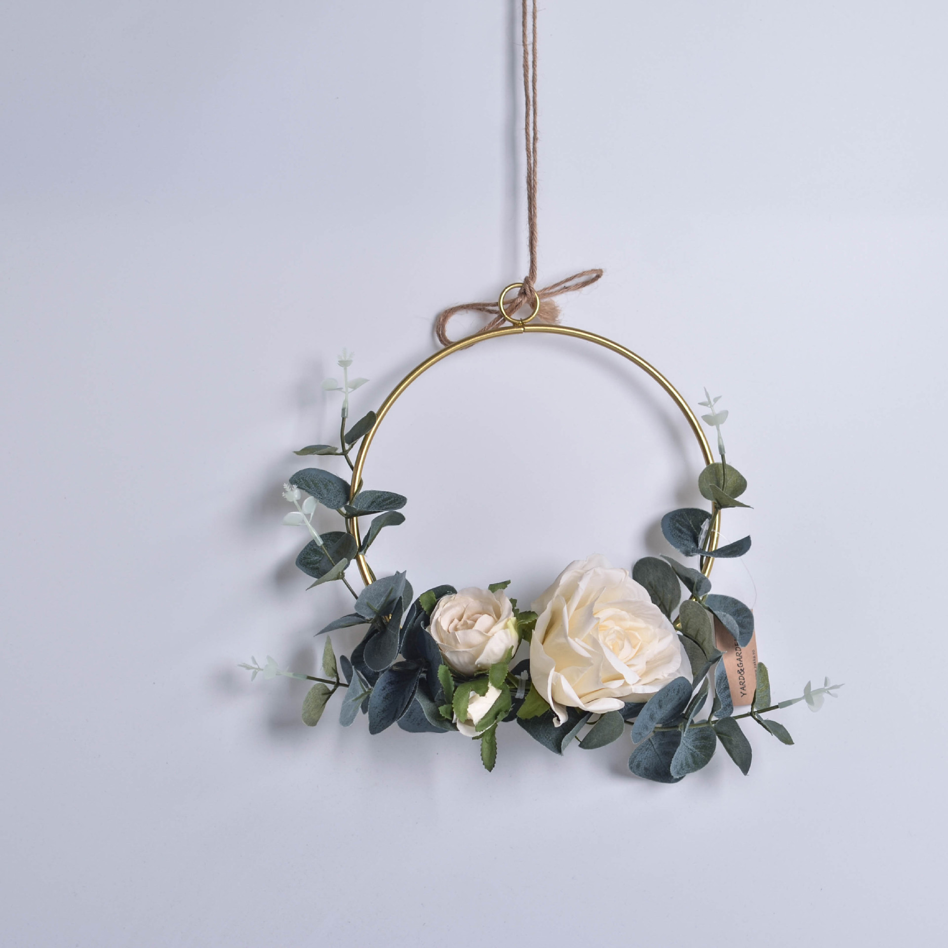 Geometric Metal Garland Home Hanging Artificial Rose Flower Ring Holder Wall Hoop Wreath Wall Hanging Farmhouse Decor