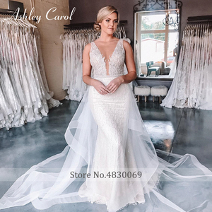 Image 4 - Ashley Carol Meerjungfrau Hochzeit Kleider 2020 Sexy V ausschnitt Spitze Luxus Perlen Abnehmbare Zug Braut Kleid Romantische Brautkleider