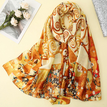 Visual Axles Gustav Klimt Oil Painting Silk Scarf The Tree Of Life Shawl Foulard for Women Bandana Spring Scarves